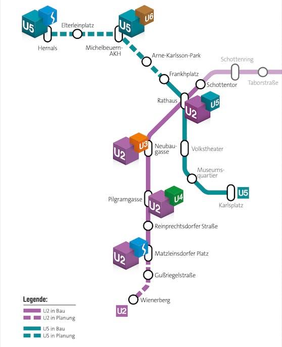 Bis 2035 sollen U2 und U5 bis Hernals bzw. zum Wienerberg fahren.