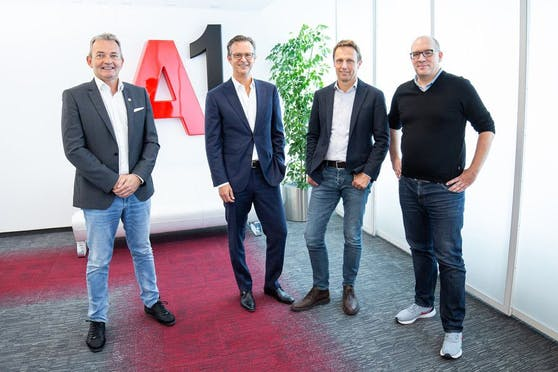 Marcus Grausam, CEO A1 Österreich, Ernst Jan van Rooijen, CFO CANAL+ Luxembourg (M7 Group), Hans Troelstra, CEO CANAL+ Luxembourg (M7 Group), Matthias Lorenz, Senior Director, Transformation, Market & Corporate Functions, A1 Österreich.