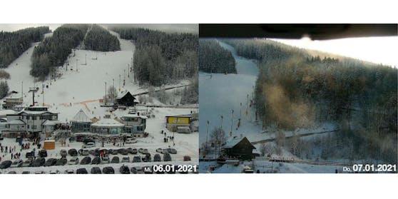 Webcam Parkplatz Zauberberg am Dreikönigstag und tags darauf