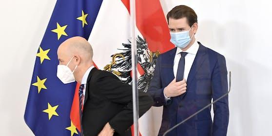 Bundeskanzler Sebastian Kurz bei der Präsentation von Martin Kocher als Arbeitsminister