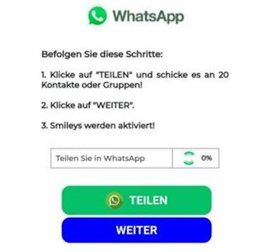 Folgt man dieser Aufforderung, öffnet sich WhatsApp.