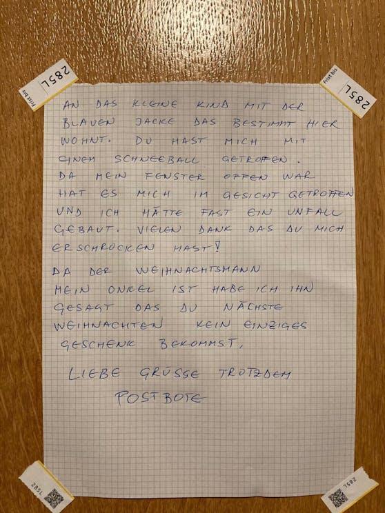 An der Hauseingangstür eines Mehrfamilienhauses in Zürich hing dieser Brief.