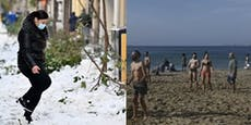 Spanien versinkt im Schnee – die Griechen gehen baden