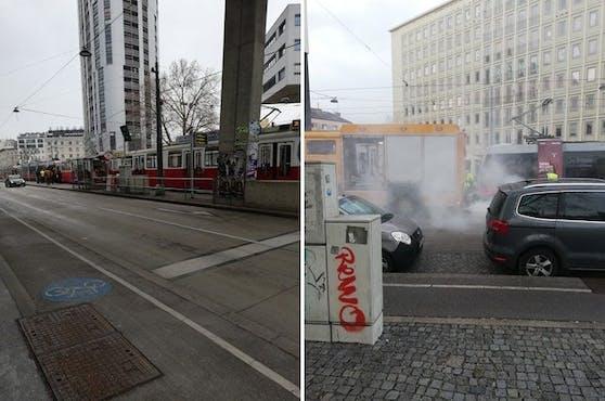 Es kam zu einem Verkehrsunfall in der Machfeldstraße in Wien.