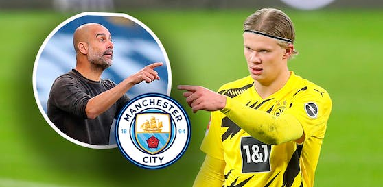 Pep Guardiola will Erling Haaland nach Manchester locken.