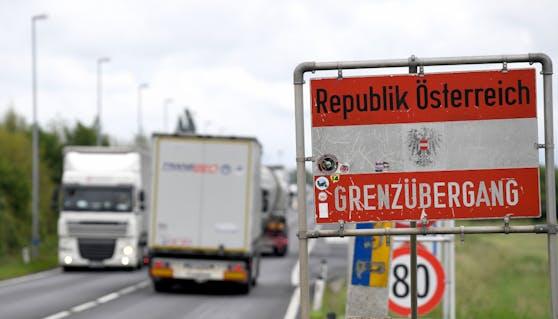Im Bild: Der Grenzübergang zwischen Österreich und Tschechien bei Drasenhofen