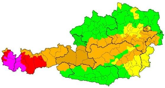 Aktuelle Wetter-Warnungen in Österreich