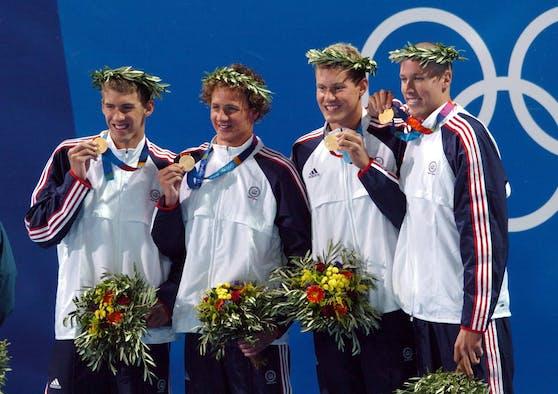 Michael Phelps, Ryan Lochte, Peter Vanderkaay und Klete Keller