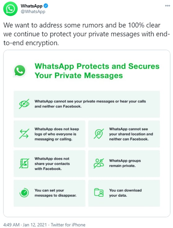 WhatsApp erklärt, welche Daten nicht an Facebook weitergeleitet werden.