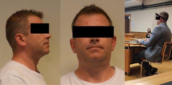 Der Angeklagte auf dem Fahndungsfoto und vor Gericht (r.)
