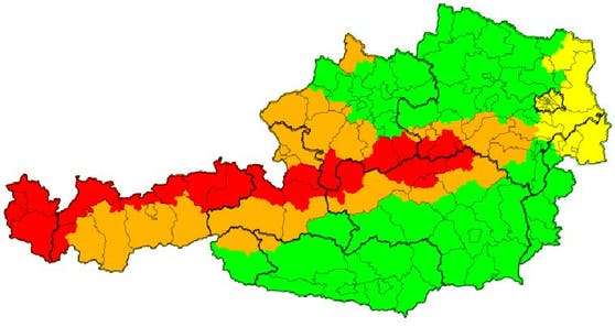 Aktuelle Wetter-Warnstufe in Österreich.