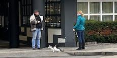 Frau führt Katze an Leine durch Wien spazieren