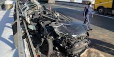 Lkw zerfetzt VW bei Crash auf Autobahn
