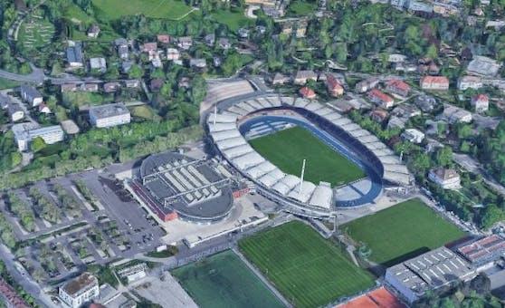 So sieht das Stadion auf der Gugl nur noch auf Google Maps aus.