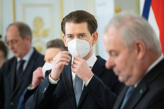 Die Bundesregierung hat die Verlängerung des Lockdowns in Österreich beschlossen. Im Bild: Kanzler Sebastian Kurz (ÖVP) sowie der Bürgermeister von Wien, Michael Ludwig (SPÖ). Wien, 17. Jänner 2021