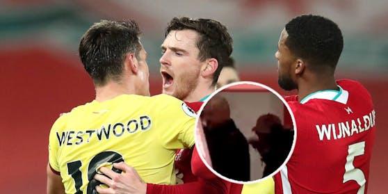 Klopp schreit Dyche an, Robertson geht auf Westwood los.