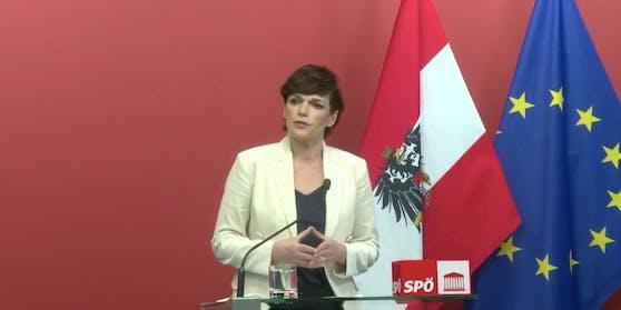 """SPÖ-Chefin Pamela Rendi-Wagner im """"roten Foyer"""" am 21. Jänner 2021"""