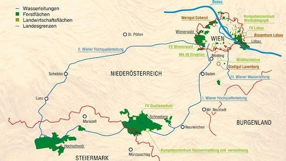 Übersichtskarte der Quellschutzwälder (grün) im Besitz der Stadt Wien in NÖ und der Steiermark