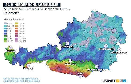 Niederschlagsmenge (Regen+Schnee) seit Freitagfrüh