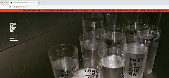 Screenshot der Pratersauna-Homepage