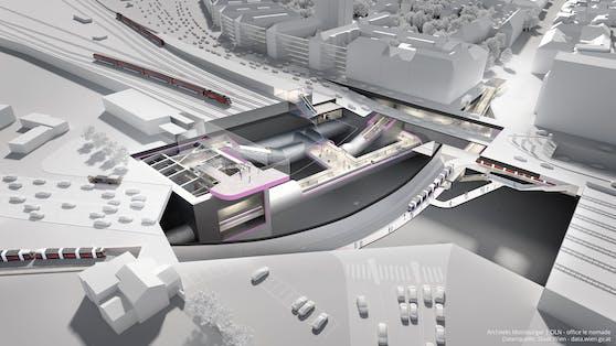 3D-Visualisierung der zukünftigen U2-Station Matzleinsdorfer Platz.