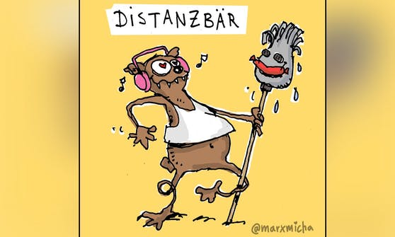 """Der """"Distanzbär"""" ist nur eines von den vielen """"Quarantierchen"""" des deutschen Künstlers Micha Marx."""