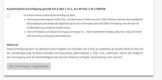 Dieser Passus sorgt für Verunsicherung. Er dient laut Land OÖ zum Schutz der Website.