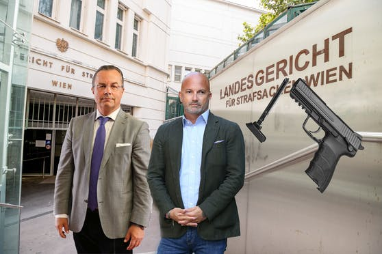 Die Anwälte Reichenbach (l.) und Rast vertreten im Luftdruck-Pistolen-Fall.