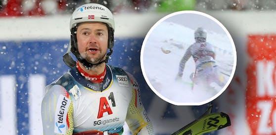 Sebastian Foss Solevaag verliert bei seinem Lauf das Glas.