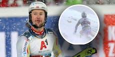 Stange schlägt Skistar im Nightrace Glas aus der Brille
