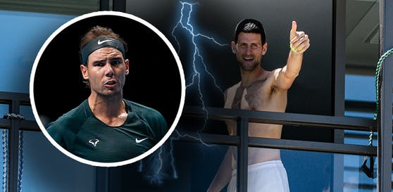 Rafael Nadal geht auf Novak Djokovic los.