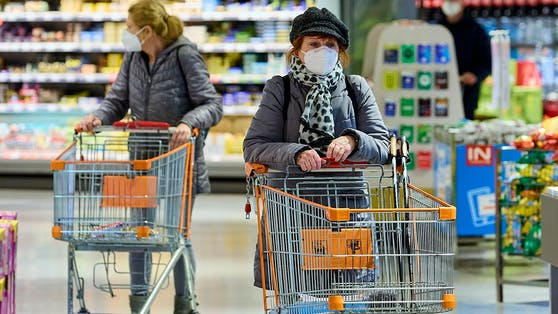 FFP2-Maskenpflicht im Supermarkt.