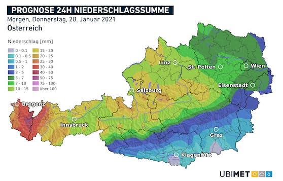 Niederschlagsmenge am Donnerstag