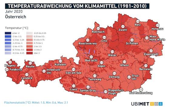 Die Temperaturabweichungen 1981 bis 2010.