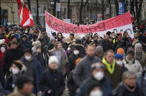 Eine Corona-Demo in Wien am Sonntag, 31. Jänner 2021