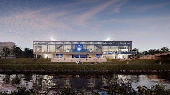Von der Donau aus wird das Stadion so aussehen.