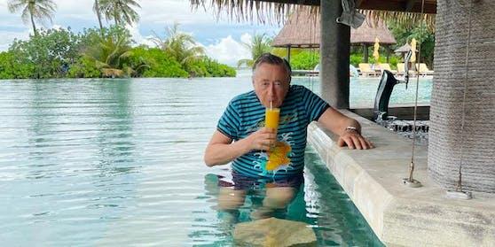 Richard Lugner vergangene Woche auf den Malediven.
