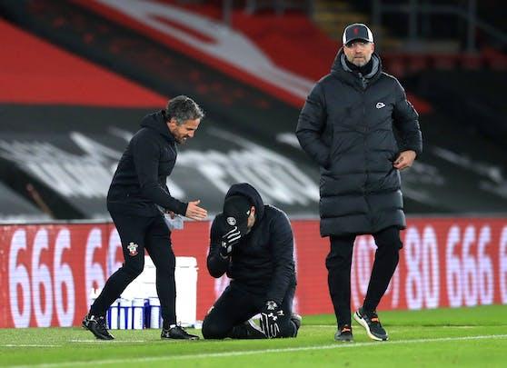 Ralph Hasenhüttl weint nach dem Sieg gegen Liverpool.