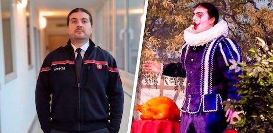 Miki Stojanov tauschte buntes Kostüm (r.) gegen graue Uniform (l.)