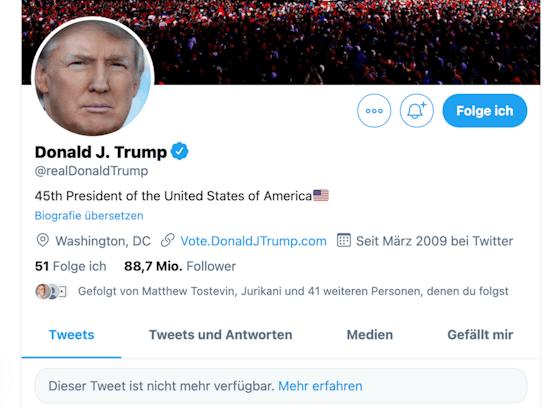 Trumps Twitter-Konto wurde gesperrt.