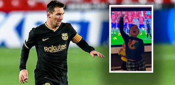 Mateo Messi bejubelt den Freistoß-Treffer von Papa Lionel Messi.