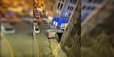 Mistkübelbrand in Wiener City sorgt für Riesen-Einsatz