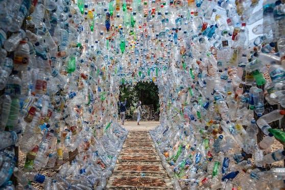 Tunnelblick: Für diesen Durchgang wurden 3.544 Plastikflaschen eingesetzt.