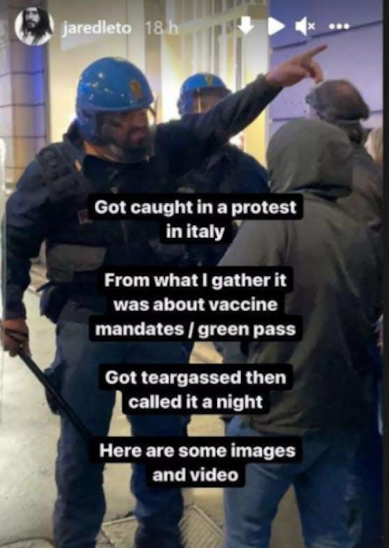 Jared Leto hat auf Demo Tränengas abbekommen.