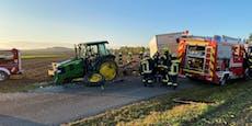Kleintransporter krachte in Traktor– Heli im Einsatz