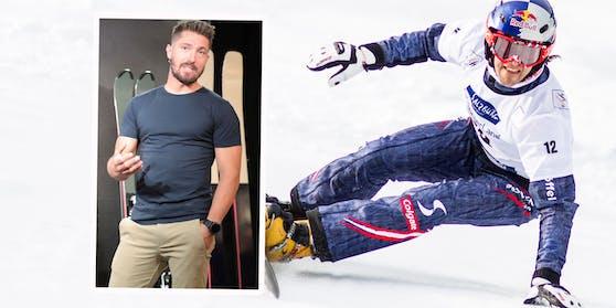 """Sigi Grabner war bis 2014 österreichischer Snowboarder, wurde 2003 Weltmeister. Links: Marcel Hirscher vor seinen neuen """"Van Deer""""-Ski."""