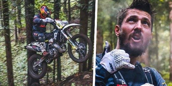 Marcel Hirscher rast wieder auf seiner Enduro durch den Wald.