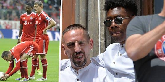 Franck Ribery mit den Ex-Kollegen David Alaba und Toni Kroos.
