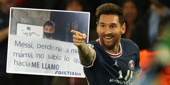 Ein kleiner Fan entschuldigt sich bei Lionel Messi für seinen Namen Cristiano.