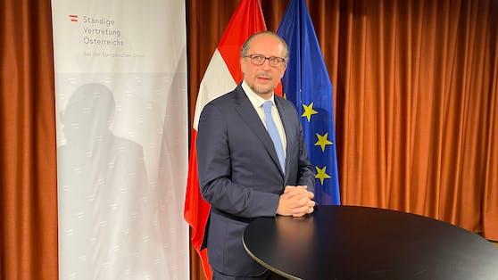 Bundeskanzler Alexander Schallenberg bei seinem ersten Statement in Brüssel.